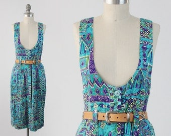 Vintage 80s Tribal Jumper Dress - Sleeveless Turquoise Rayon Button Front Dress - Apron Pinafore Sun Dress - Size Medium M