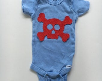 Skull and Crossbones iron on applique - decorate a tee, decor, or rock and roll quilt