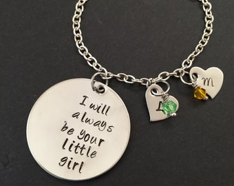 Personalize bracelet - I will always be your little girl - mothers gift  - kids initial  - gift