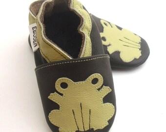 soft sole baby shoes leather infant kids children gift frog olive dark brown 0-6 Lederpuschen chaussons chaussurese garcon ebooba FR-4-DB-M