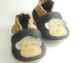soft sole baby shoes infant kids children monkey beige dark brown 6 12  Krabbelschuhe Lederpuschen chaussons garcon fille ebooba MN-1-DB-T-2