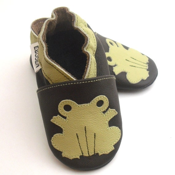 soft sole baby shoes leather infant kids children girl boy gift new frog 0-6 m ebooba 26-1