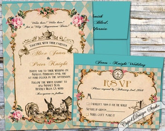 Alice in Wonderland Wedding invitation. Mad hatter wonderland wedding invitations. Teal Alice in wonderland wedding invitation suite.