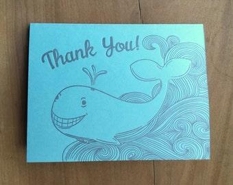 Thank You Whale Handmade Letterpress Greeting Card