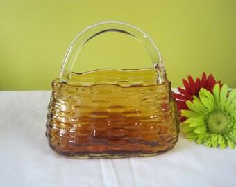 Vintage basket glass cast / cast glass basket