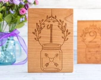 Wood Mason Jar Table Number - Set of 10 Engraved Wedding Table Numbers - Romantic Rustic Table Numbers