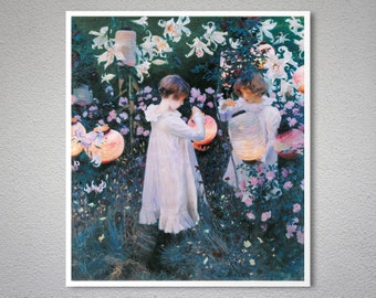Carnation, Lily, Lily, Rose  by John Singer Sargent - Poster Paper, Sticker or Canvas Print
