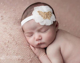 Butterfly Headband, Elegant Headband, Elastic Headband, Delicate Headband, Unique Headband, Baby Girl Accessories, Baby Headbands, Baby girl