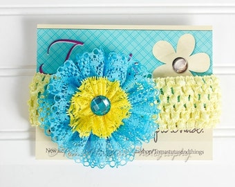25 PERCENT OFF Turquoise  and Yellow Flower Lace Headband, Crochet with Rhinestone Center- SHIPS Free!