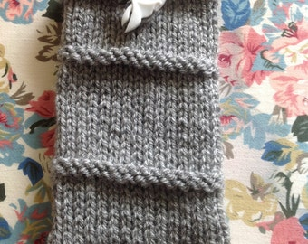 Knitted mobile phone cover/case/protector with Zero from A Nightmare Before Christmas button