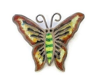 Vintage Sterling Enamel Butterfly Pin / Brooch Mexico