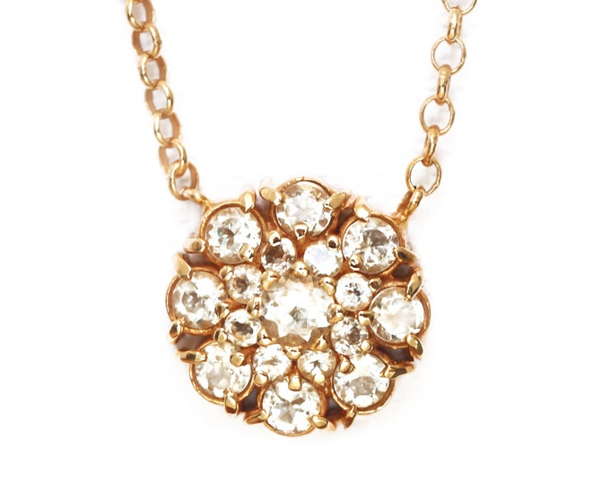Necklace sapphires and lemon topaz - rose cluster necklace - 18ct yellow gold plated silver - birthstone november