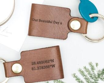 Personalised Leather Coordinate Keyring
