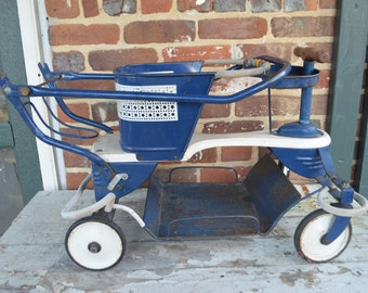 Antique, Rustic Child's Walker/Stroller, Navy Blue, 1940s-50s