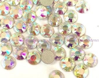 1440p flat back crystal AB Aurore boreale rhinestones white 2.4mm ss8