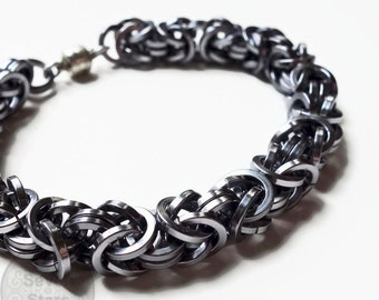 Gunmetal Mens Chainmaille Bracelet, Square Ring Byzantine Chainmail Bracelet, Dwarven Style Mens Jewelry, Gifts for Him