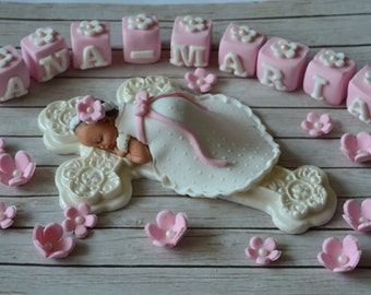 Baptism Cake topper - Girl