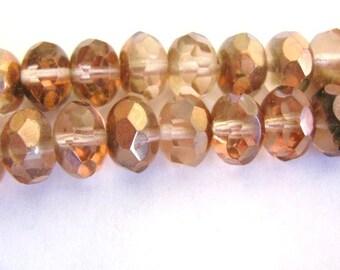 9x6mm Faceted Rondelle Bead Pink Copper Czech Glass Bead Rose Capre 15pcs