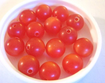 8mm Round Red Moonglow Vintage Lucite Beads 20pcs