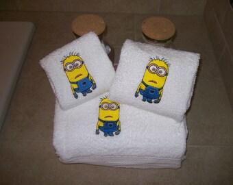 minion bathroom set. Personalized Minion  3 Piece Embroidered Towel Set bathroom Etsy