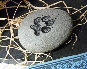 Dog Paw Print Engraved Stone Paperweight K9 Gift