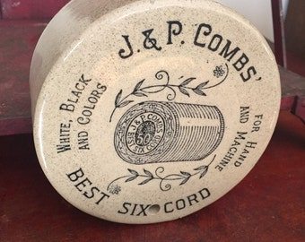 Stoneware String Holder advertising J. & P. Combs Thread