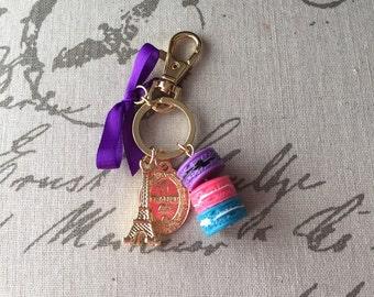 Delicious Macaron Purse Charm, Key Ring