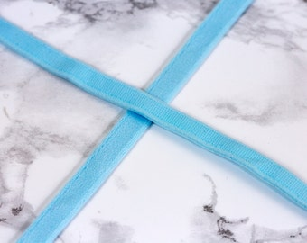 """1 Yard 3/8"""" Sky Blue Plush Underwire Channeling / Casing for Bra Making Factory Dyed 11mm Bra Making"""