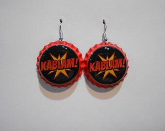 Super Hero Comic Book Sound Effects bottle cap earrings