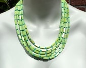RESERVED For Scarlett, Big Bold Chunky Statement Necklace, Jade Necklace, Aqua Crystal, Lime Green Stone, Multi Strand 1216