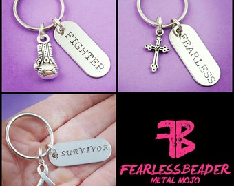 Fearless Keychain, Fighter, Survivor, Handstamped Keychain, Cross, Boxing Glove, Cancer Ribbon, Cancer, Fight Back, Strength, Boxer, Fitness