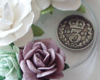 Vintage Edward VII SilverThreepence In Handmade Watch Part White Purple and Mint Rose Wedding Hair Clip