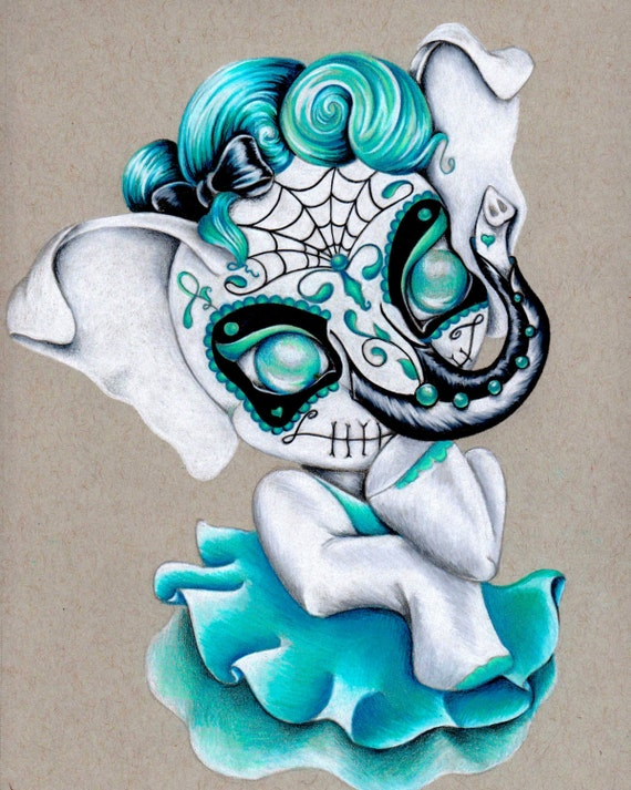 "Items similar to Sugar Skull Ellie 8""x10"" Art Print on Etsy"