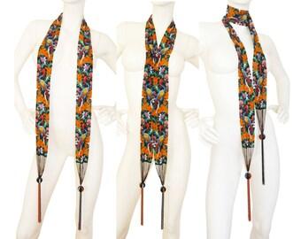 Art Deco 1920s Vintage Micro-Beaded Flapper Necklace Sautoir Pheasant Floral Motif