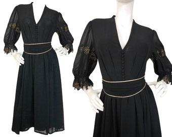 ULI RICHTER 1970s Vintage Belted Evening Dress Black Gold Floral Lace German Designer US Size 6-8 Small