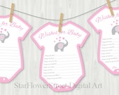 Pink Elephant Baby Shower Decorations Wishes for Baby Cards Printable Cutout Girl pink gray grey printable little peanut games bbs bodysuit
