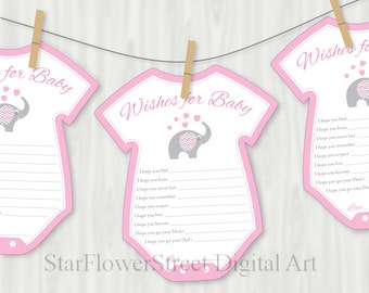 Pink Elephant Baby Shower Decorations Wishes For Baby Cards Printable  Cutout Girl Pink Gray Grey Printable