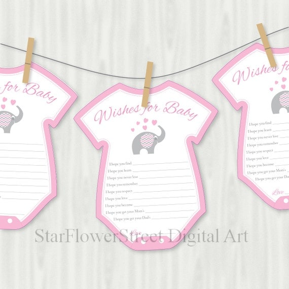 Pink elephant wishes for baby cards printable cutout girl pink for Baby shower decoration cutouts