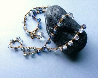 Beaded Crochet Necklace, Ocean Blue, Crystal Clear, Faceted Czech Glass, Azure Aqua Teal, Modern Boho Chic, Tami Lopez Designs
