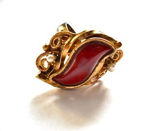 Vintage STATEMENT RING Russet  Cabochon circa 1960