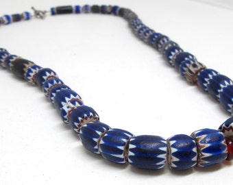 African Trade Bead Necklace: Venetian Glass Four to Six Layer Chevrons