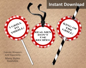 Crimson Red Gingham BBQ Cupcake Toppers, Favor Tags, Straw Flags, Instant Download, Party Decorations