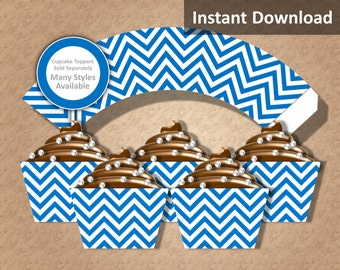 Blue Chevron Cupcake Wrapper Instant Download, Party Decorations