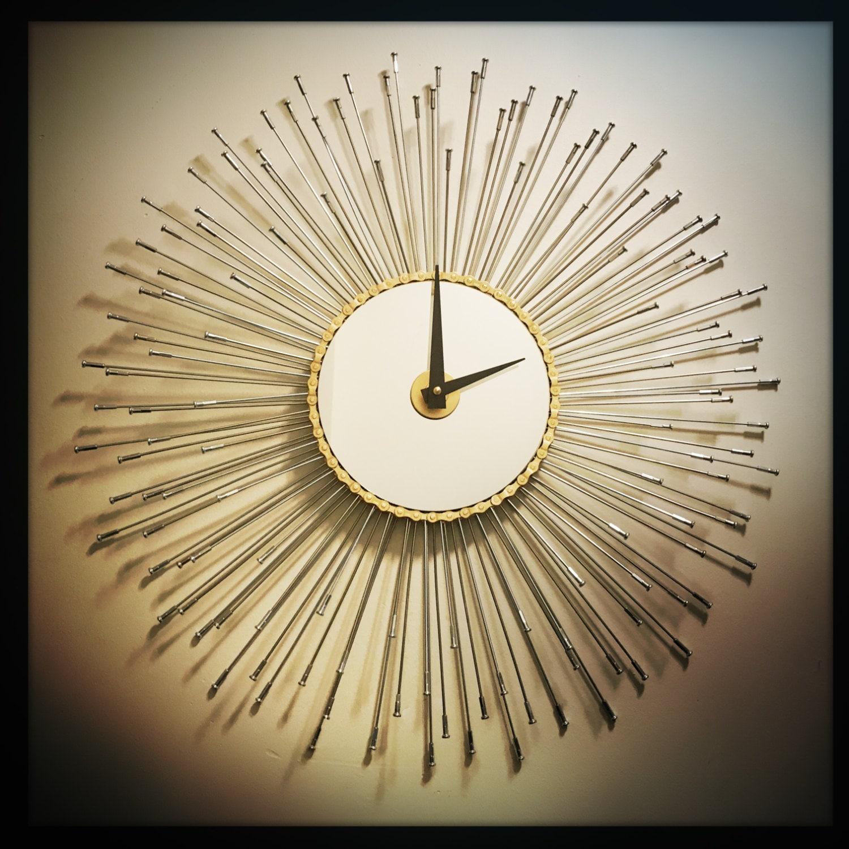 sunburst wall clock steampunk home decor bike wall clock