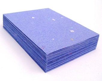 Blue handmade paper cardstock, cut edges, recycled with embedded confetti, 10 small sheets,  4.25 x 5.5 inch