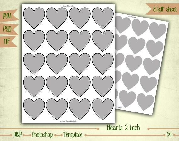 "2"" Hearts - Digital Collage Sheet Layered Template - (T096)"