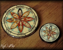 GODDESS Wheel of the year laminated on fir wood - decoupage handcrafted -