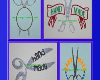 Scissor Hand Made Monogram Set of 4 Digitized Machine Embroidery Design