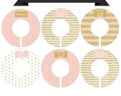 Round Closet Clothes Dividers in Blush Pink and Gold Glitter 6 Piece Set for Babies Newborn through Size 6 - CDG046
