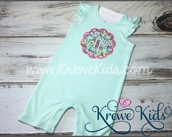 Floral Petal Initial Infant Baby Toddler Girl Mint Ruffled Romper